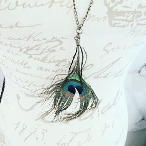 Jewelry - Peacock Feather Necklace Bronze Chain